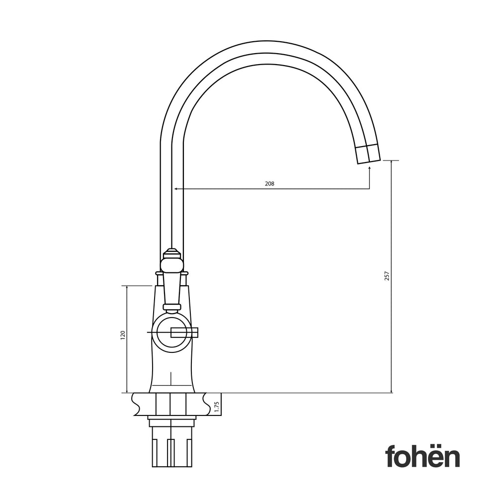 Fohen Fantale Polished Chrome Side Dimensions Line Drawing