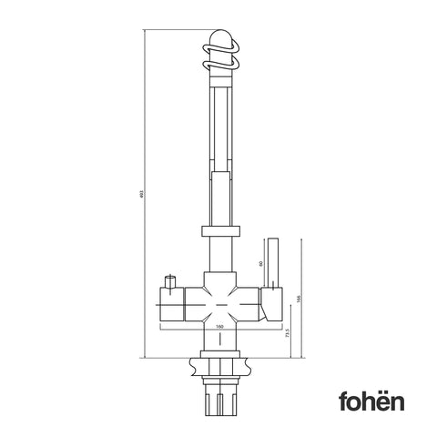 Fohen Flex Polished Chrome Back Dimensions Line Drawing