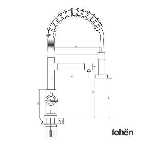 Fohen Flex Polished Chrome Side Dimensions Line Drawing
