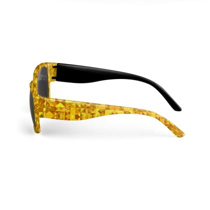 Custom printed sunglasses, gold mosaic print
