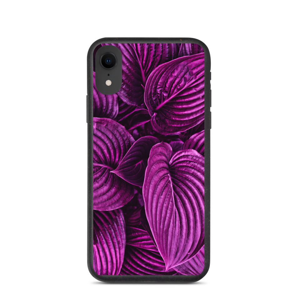 "Plastic free Eco-Friendly iPhone Case ""Purple leaves"" made in Latvia"