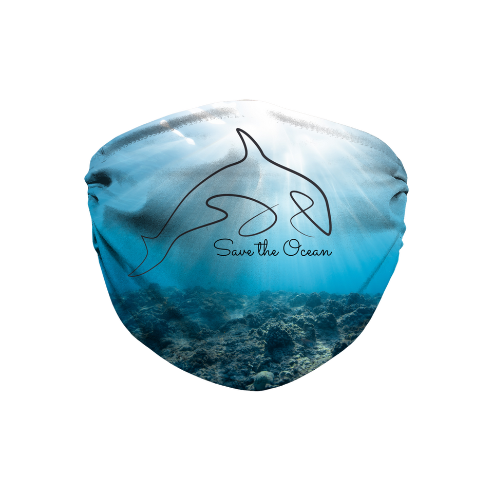 Save the ocean Face Mask with Filter and Wire | Printing Boutique, UK