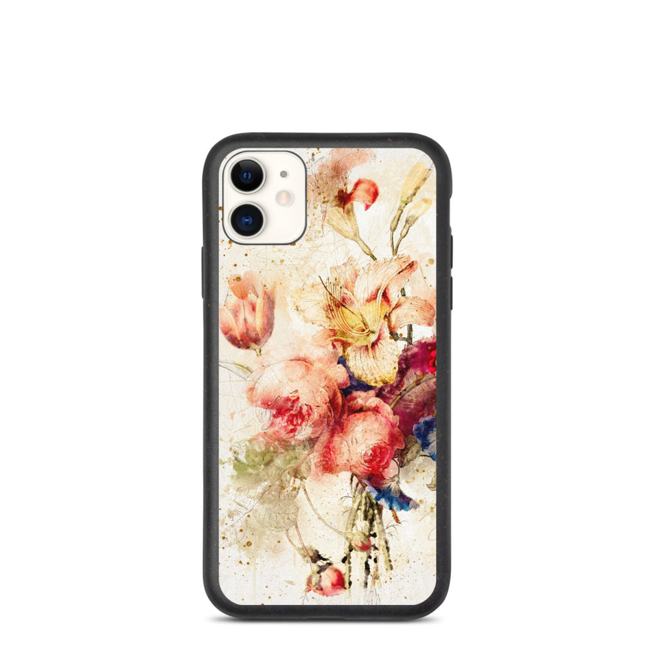 Eco floral print iphone case, anti-shock, plastic free. Made in EU