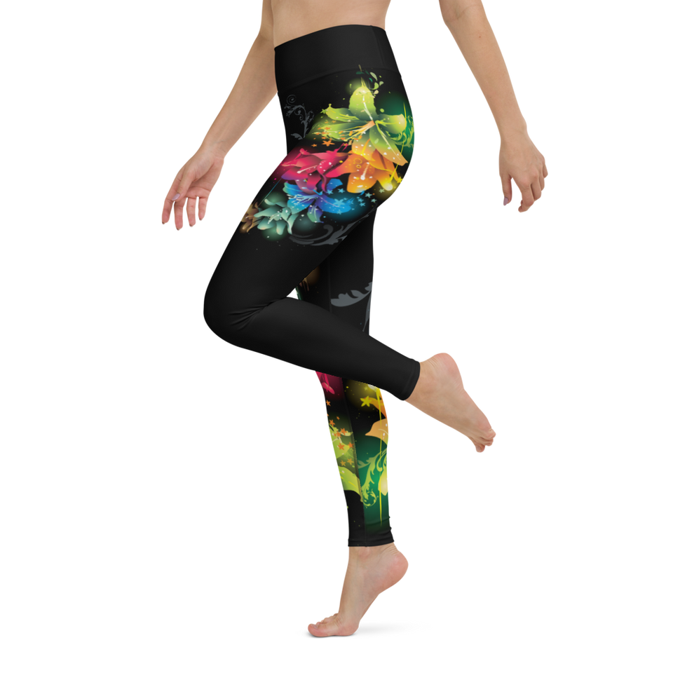 Black Leggings with Floral Print, Delivered Worldwide