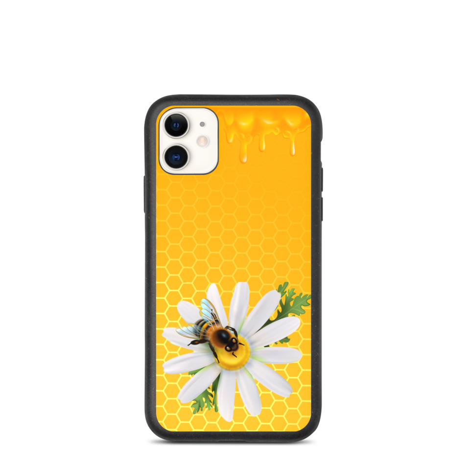 "Biodegradable Eco Friendly iPhone Case ""Honey combs"", made in Latvia, EU"