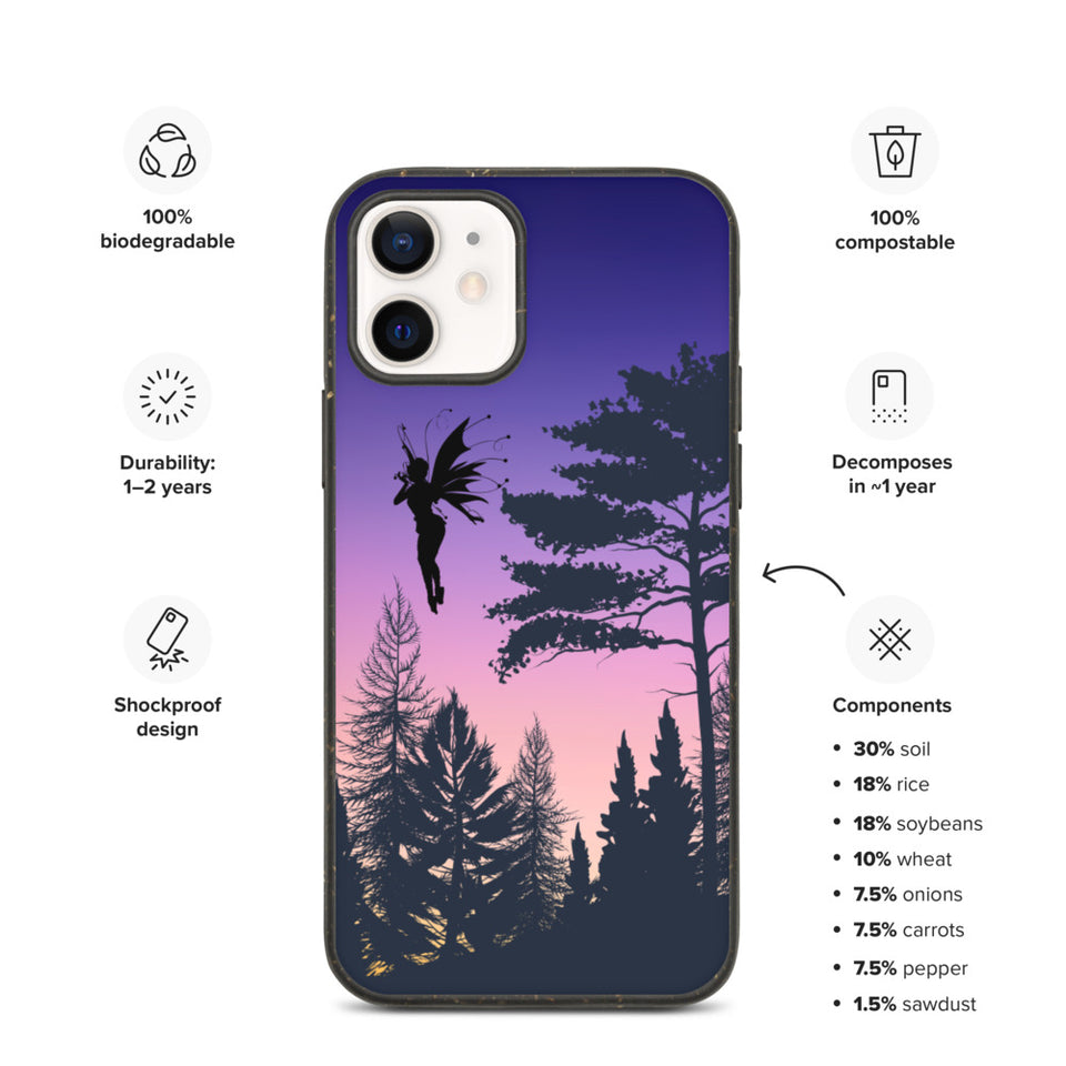 "Biodegradable Eco Friendly iPhone Case ""Enhanced Forest"", made in Latvia, EU"