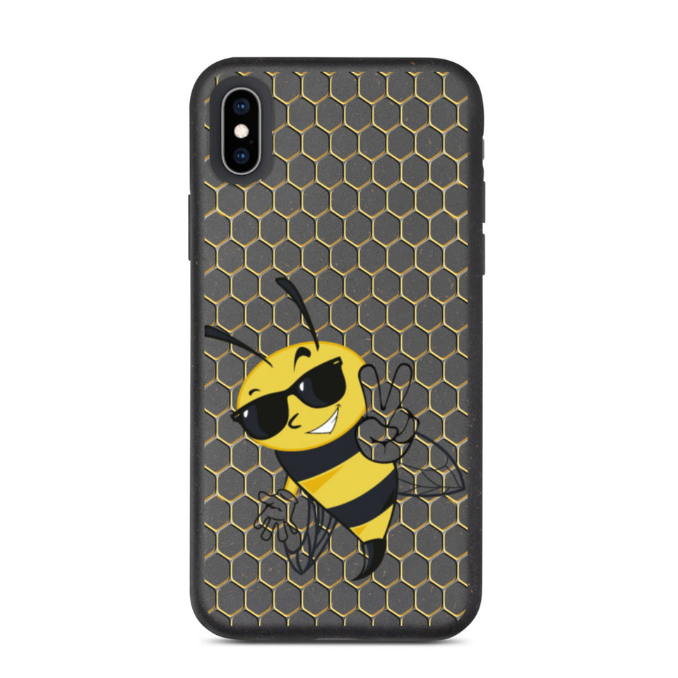 "Biodegradable Eco Friendly iPhone Case ""Happy Bee"", made in Latvia, EU"