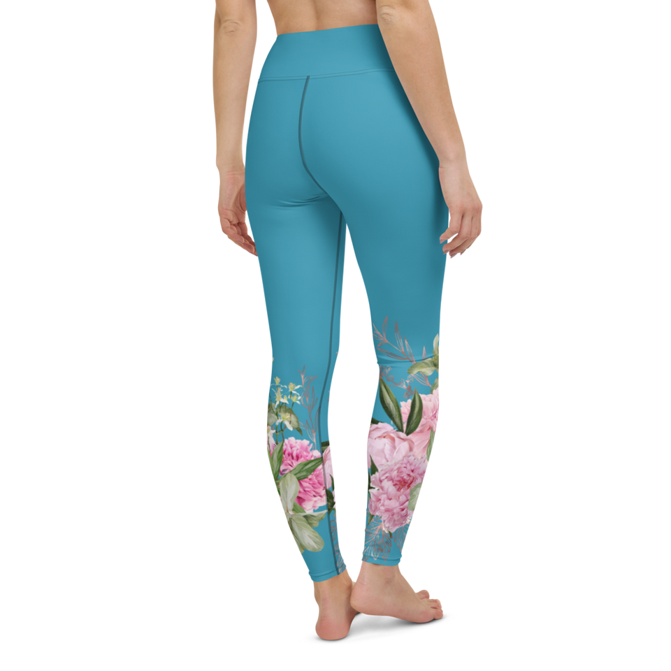 Peony Print Leggings high waistband made in Latvia | Printing Boutique