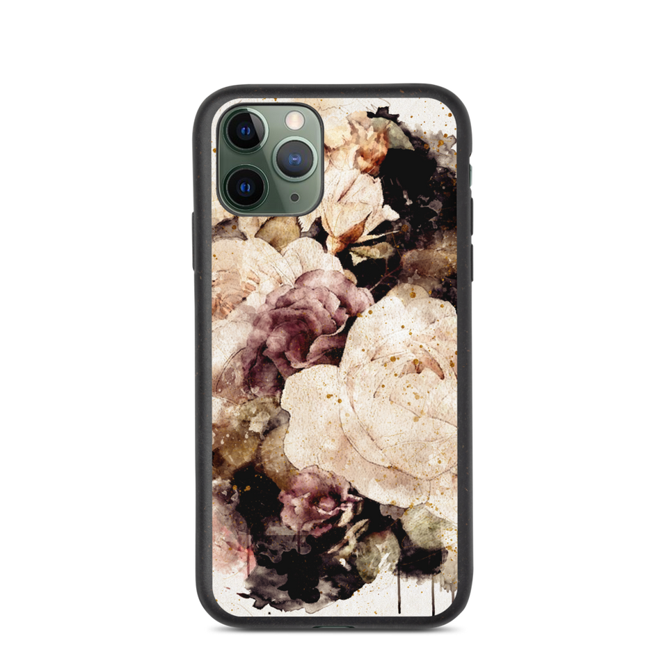 "Biodegradable Eco Friendly iPhone Case ""Roses"", made in Latvia, EU"