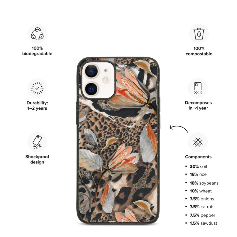 Eco exotic print iphone case, anti-shock, plastic free. Made in EU