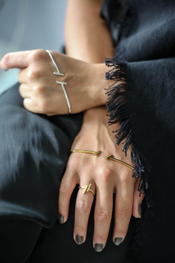 """RIGHT PLACE, RIGHT TIME""  GOLD PALM CUFF"