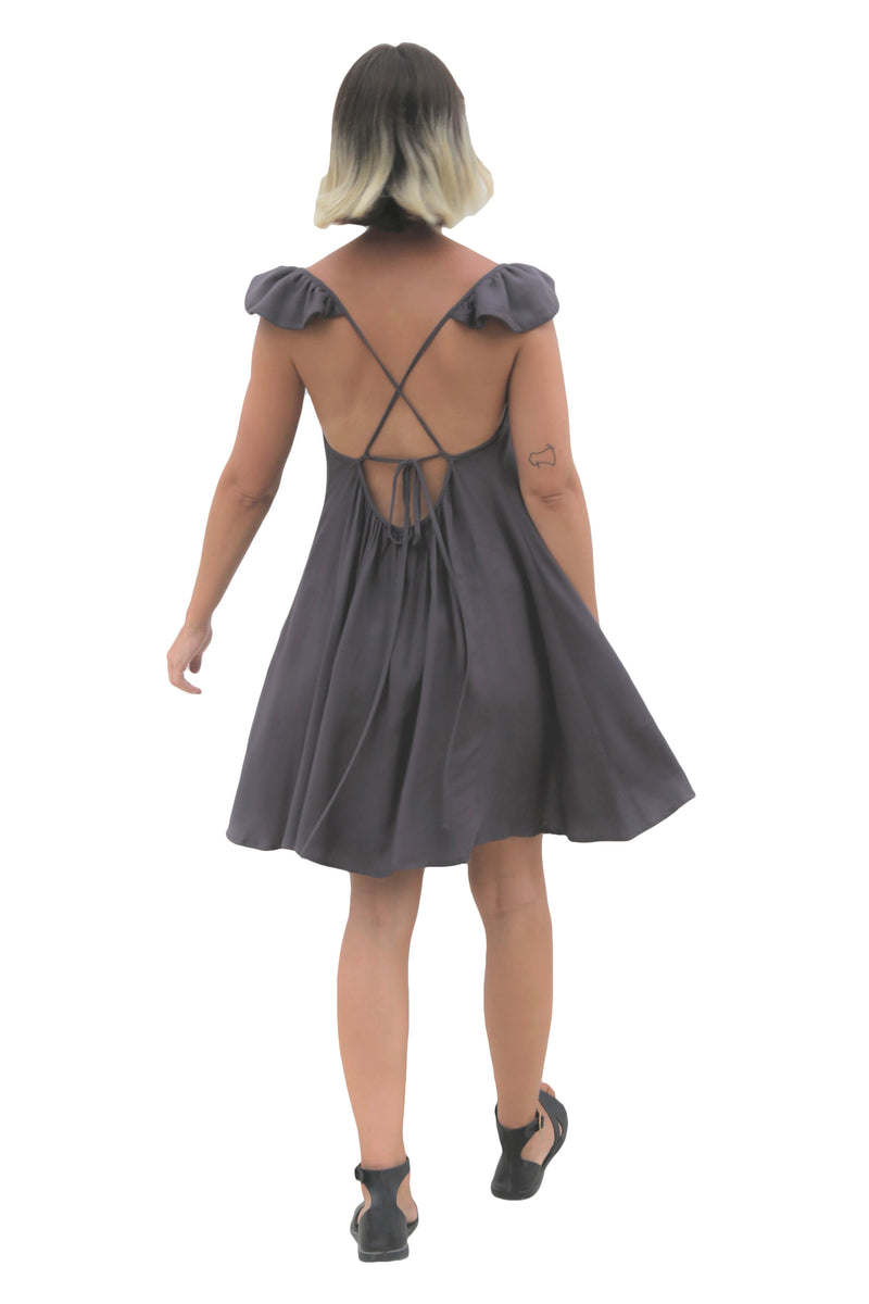 """WINGS"" SHORT GRAY DRESS"