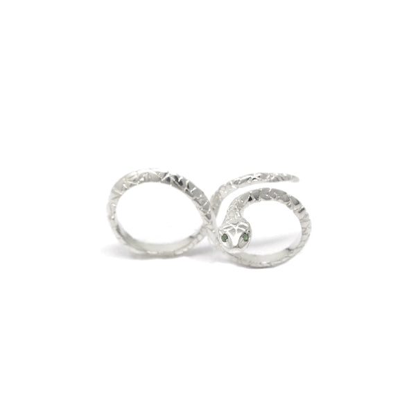 """INFINITY"" SNAKE SILVER RING"