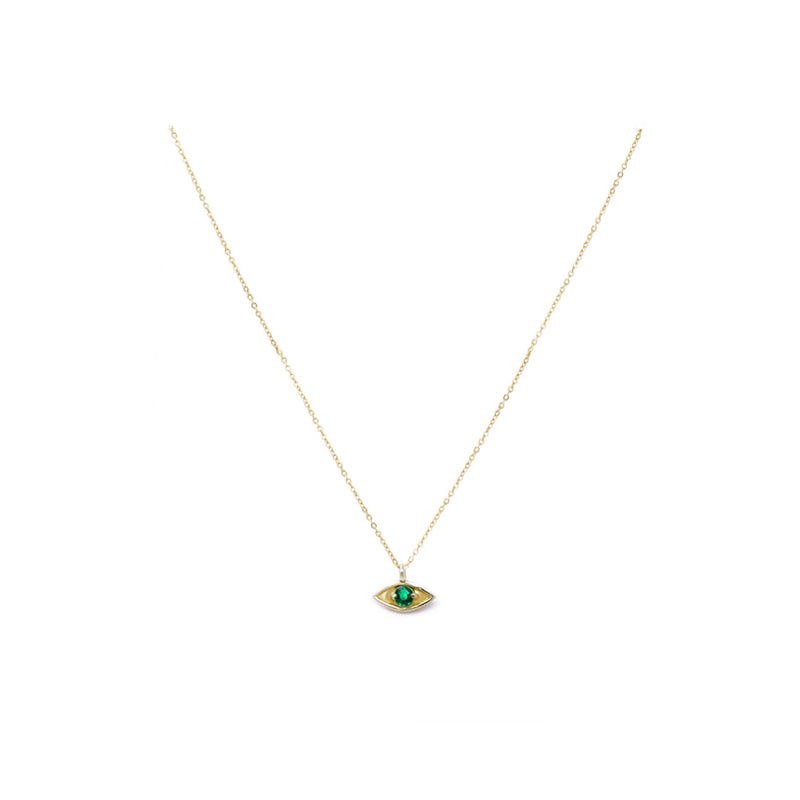 """EYE PROTECT YOU"" GOLD PENDANT - EMERALD"