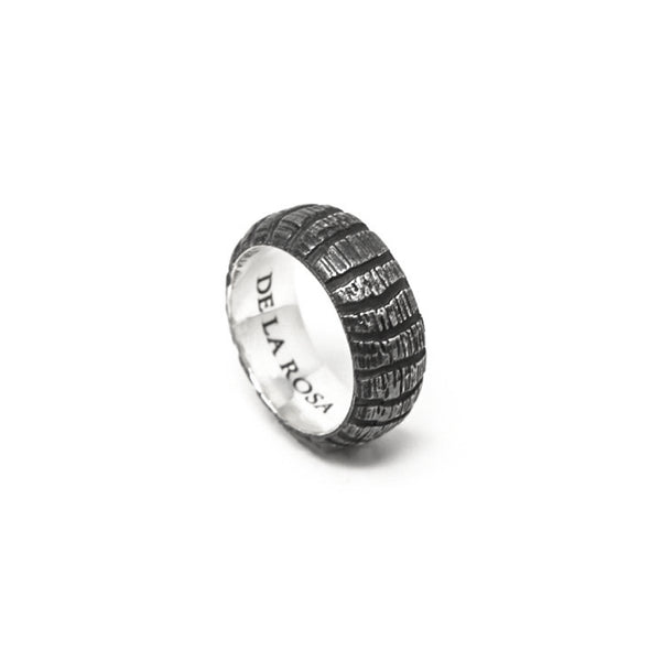 """JUNGLE"" BLACKENED SILVER RING - 10 mm"
