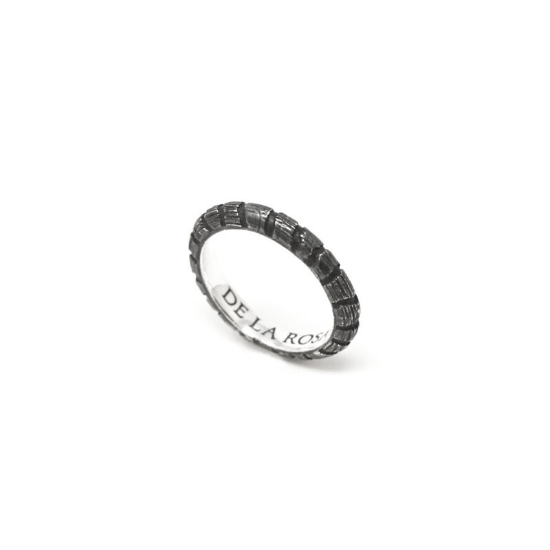"""JUNGLE"" BLACKENED SILVER RING - 4mm"