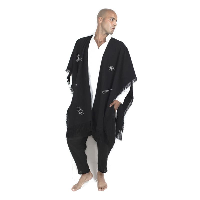 """NO GRAVITY"" BLACK PONCHO"