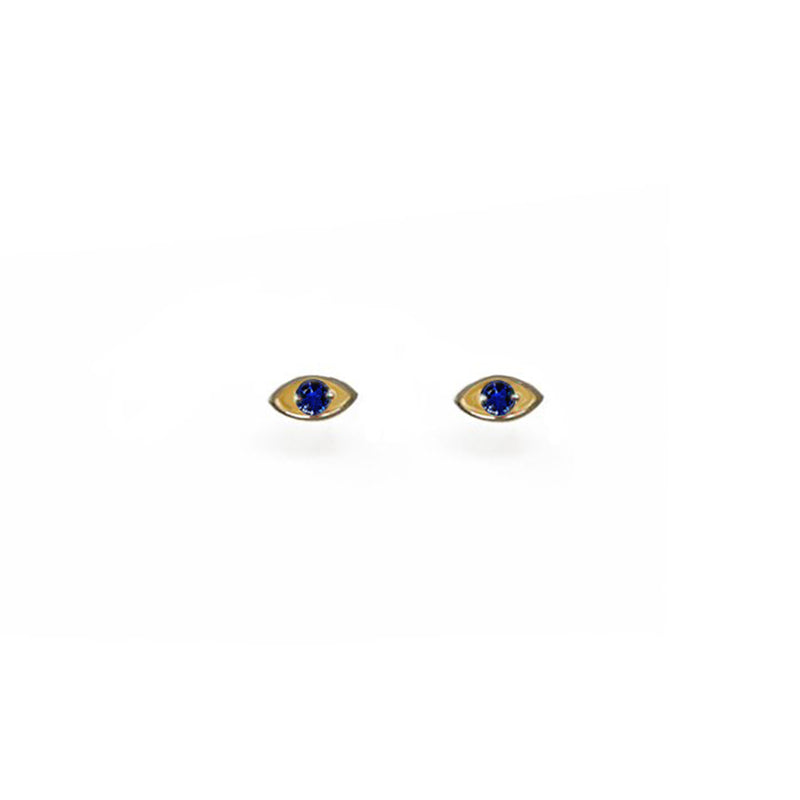 """EYE PROTECT YOU"" GOLD EARRINGS - SAPPHIRE"