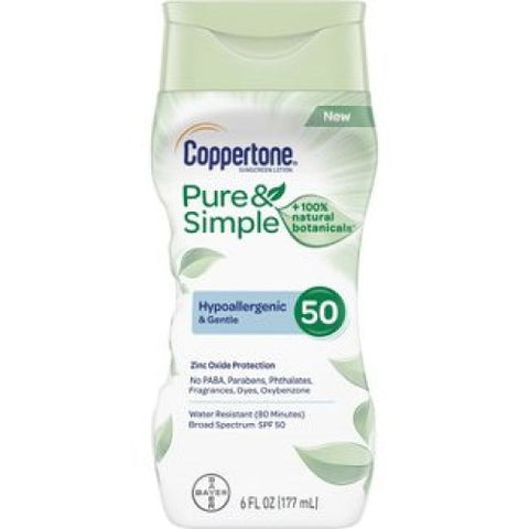 Sunscreen Lotion, SPF 50, Coppertone Pure & Simple