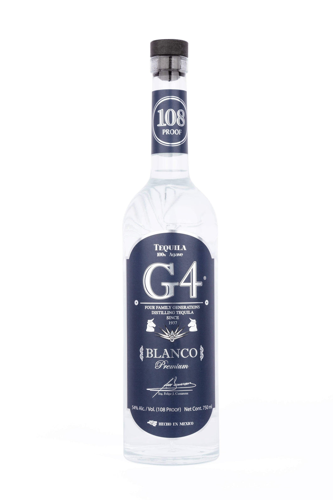 Tequila G4 Blanco 108 HIGH PROOF 100% Agave - 750ml