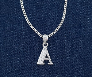 Snake or Ball Chain Necklace Sterling Silver Initial V Pendant on a Sterling Silver Cable