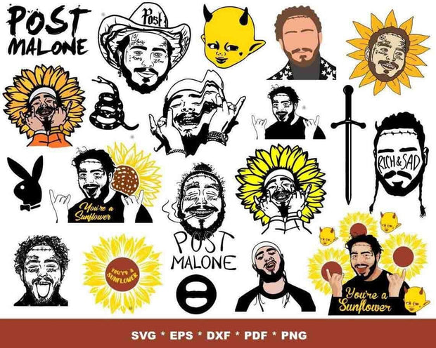 270+ Post Malone SVG Bundle