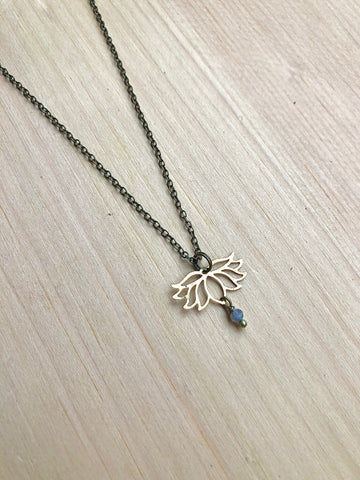 Brass lotus and Labradorite Necklace