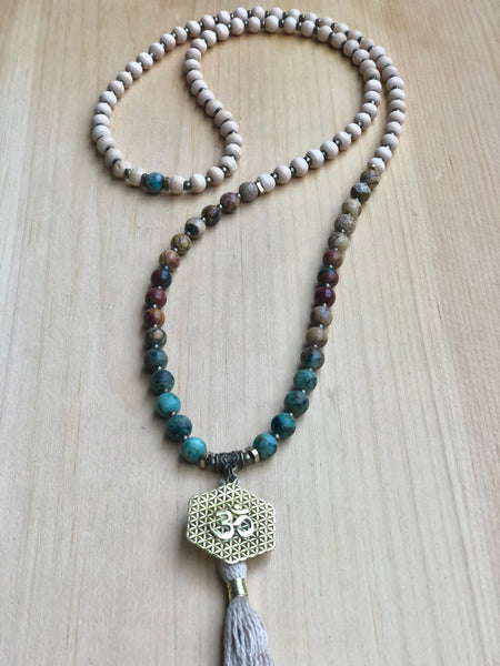 Picasso Jasper, African Turquoise and Om Mala Necklace