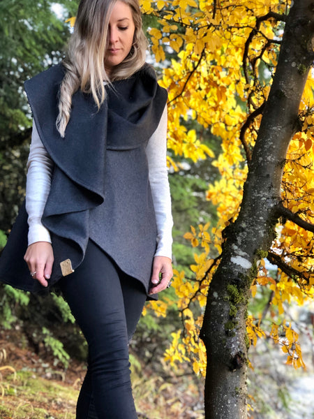 Charcoal Wool Blend Vest Wrap