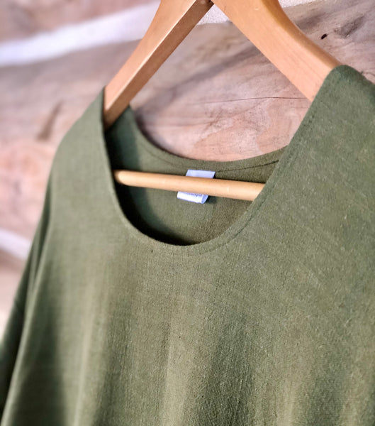 Long sleeve linen blend dress