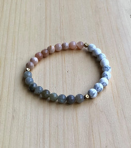Howlite, Sunstone, Labradorite and brass Mala Bracelet