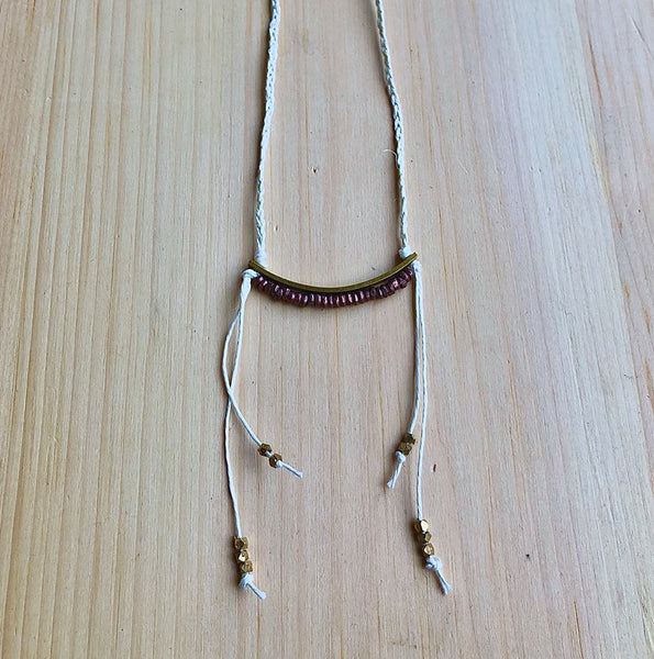 Linen, Brass and vintage Copper necklace