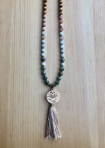 African Turquoise, Amazonite, Sunstone and Lotus Mala Necklace