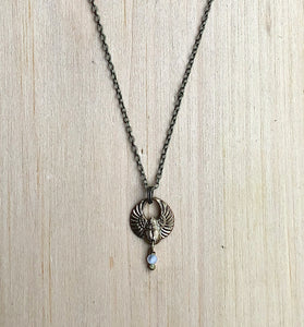 Brass scarab and Moonstone Necklace