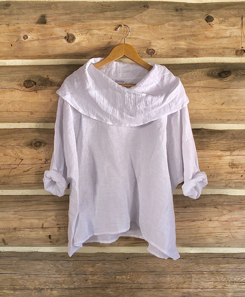 Crinkle Linen Cowl Neck Top