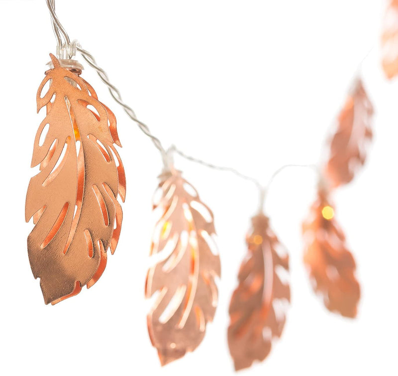 Rose Gold Feather Copper Wire LED String Light