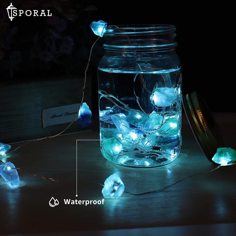 Natural Fluorite Raw Stones LED Decorative String Light
