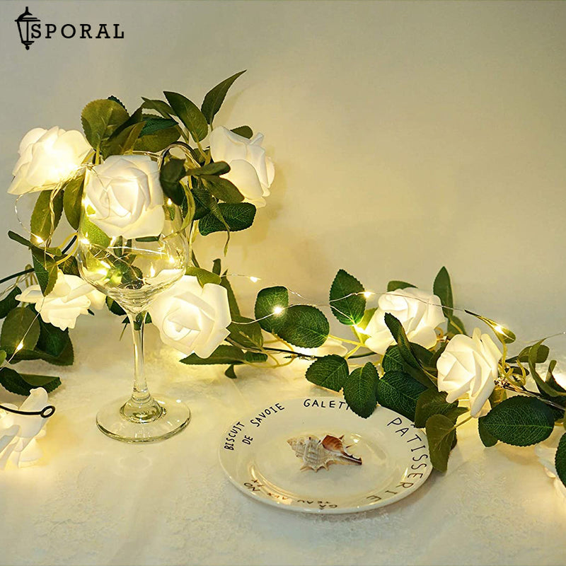 White Rose Garland String Lights