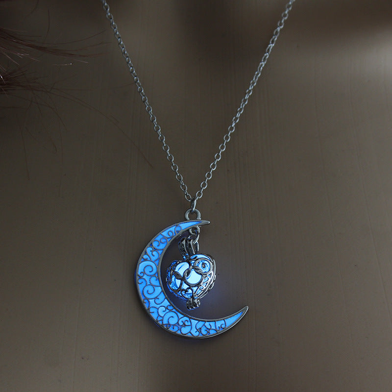 Moon Heart Necklace (Glow in the Dark)