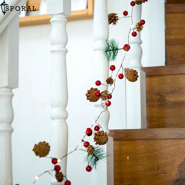 Pinecone Red Berry Garland String Light