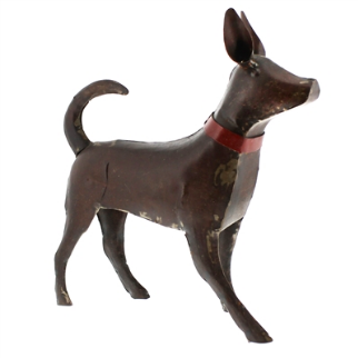 CR Large Reclaimed Walking Metal Dog - Rust