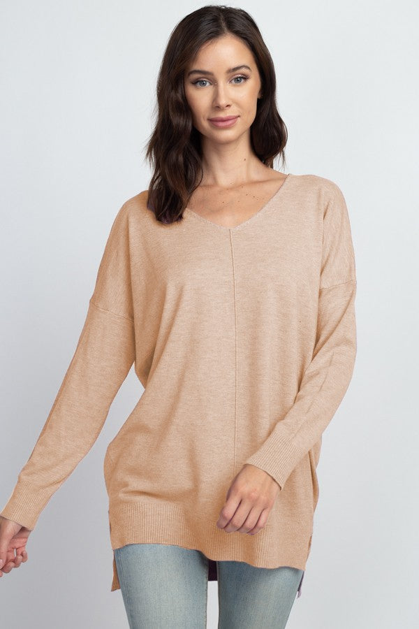 CR Christi Front Seam Sweater - Heather Lt. Taupe