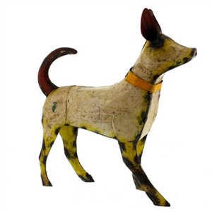 CR Large Reclaimed Walking Metal Dog - White