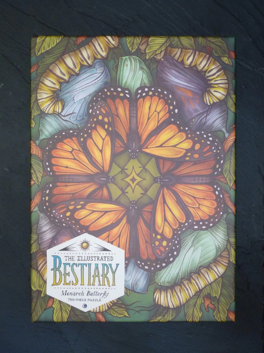 The Illustrated Bestiary Puzzle: Monarch Butterfly - 750 Pieces