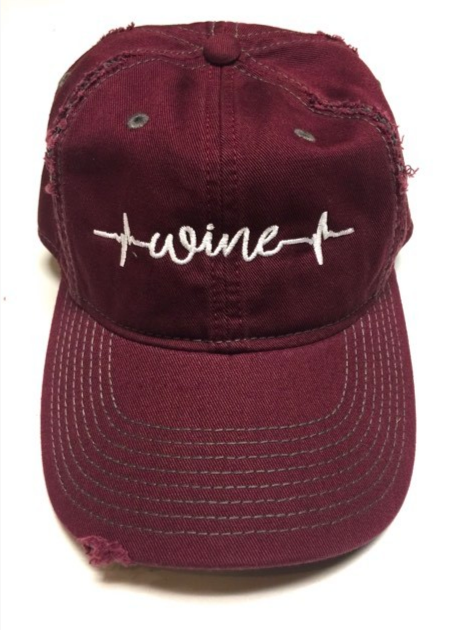 Wine Heartbeat Distressed Baseball Cap- Maroon