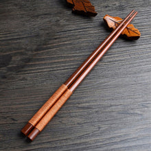Load image into Gallery viewer, Handmade Japanese Natural Chestnut Wood Chopsticks Set Value Gift Sushi Chinese food Tie line