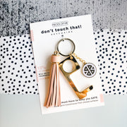 Don't Touch That Key Chain w/ Tassel-Accessories-Pieces of Me-Blush-So & Sew Boutique