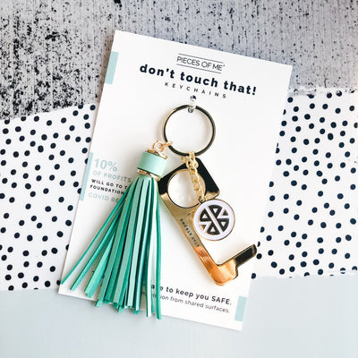 Don't Touch That Key Chain w/ Tassel-Accessories-Pieces of Me-Aqua-So & Sew Boutique