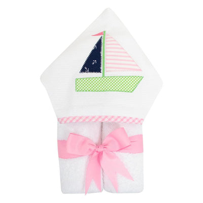 Everykid Towel - Pink Sailboat-Baby-3Marthas-So & Sew Boutique