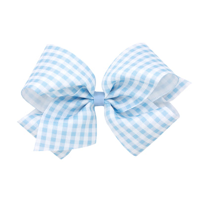 Gingham Print Bow - Blue-Accessories-WeeOnes-So & Sew Boutique